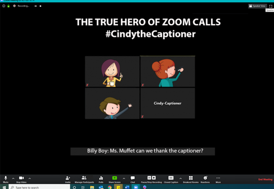 Cartoon Zoom meeting with Cindy the Captioner